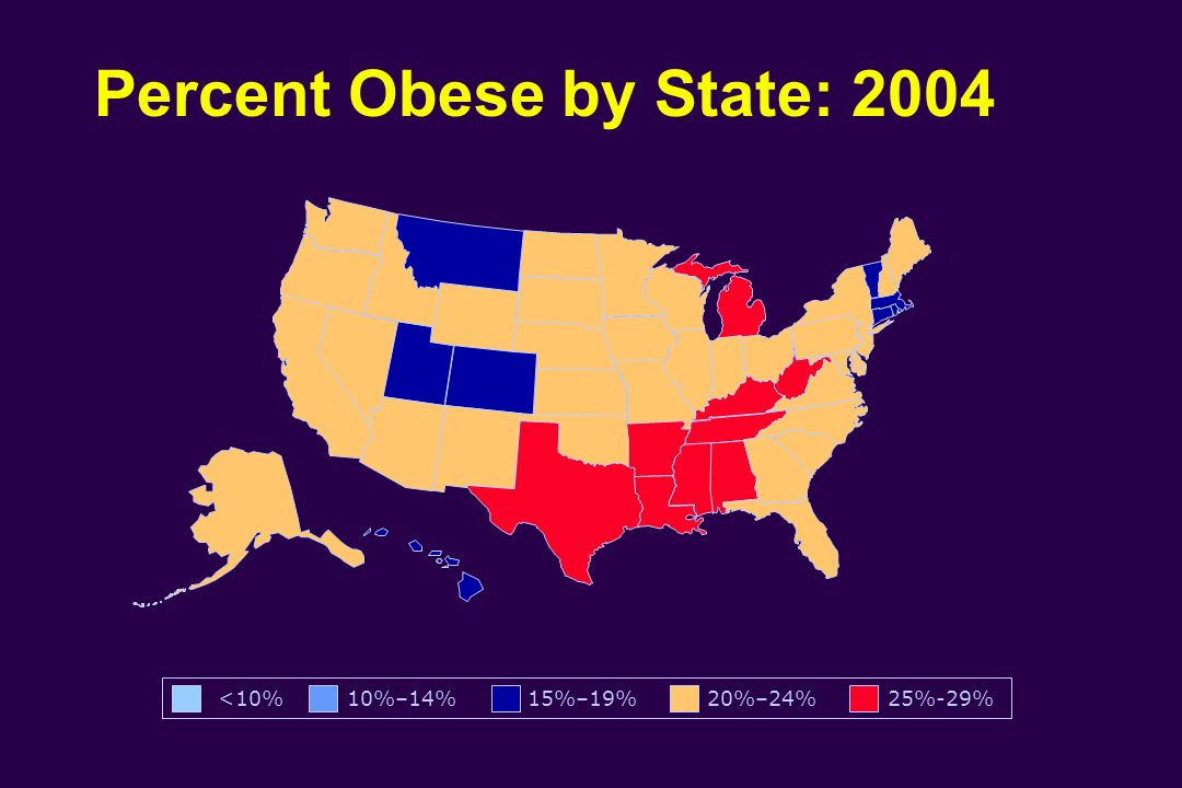 Percent Obese by State: 2004