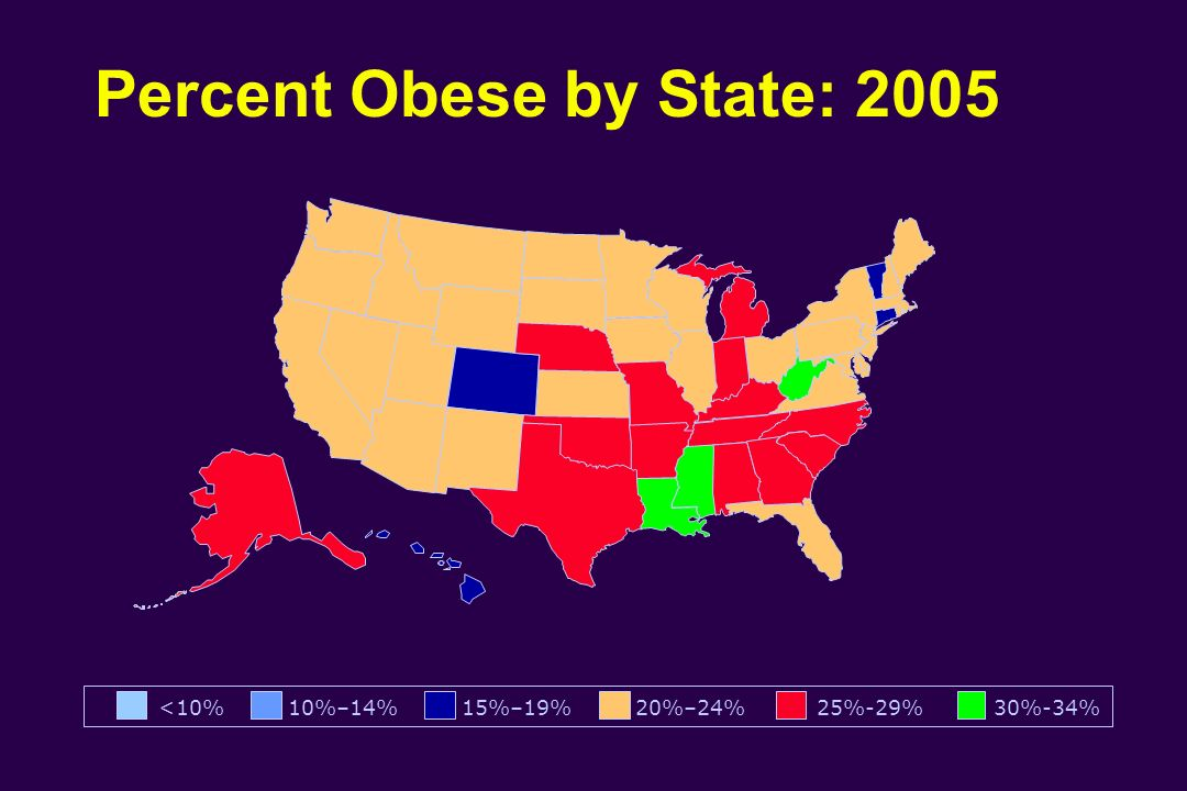 Percent Obese by State: 2005
