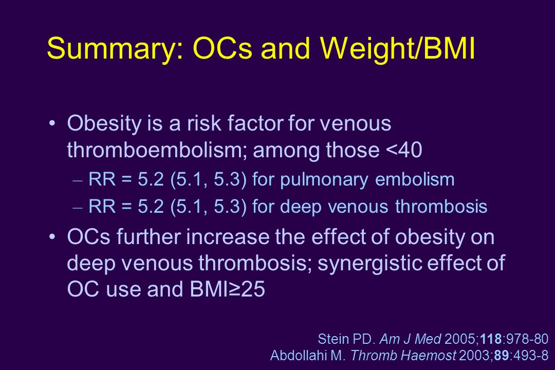 Summary: OCs and Weight/BMI