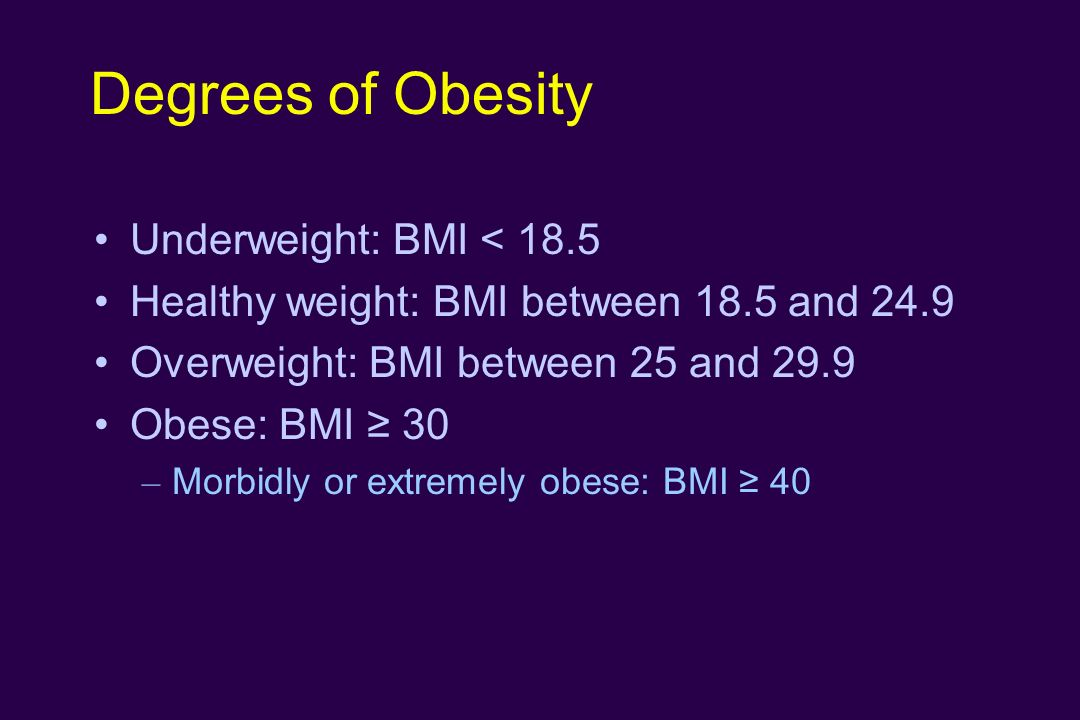 Degrees of Obesity Underweight: BMI < 18.5