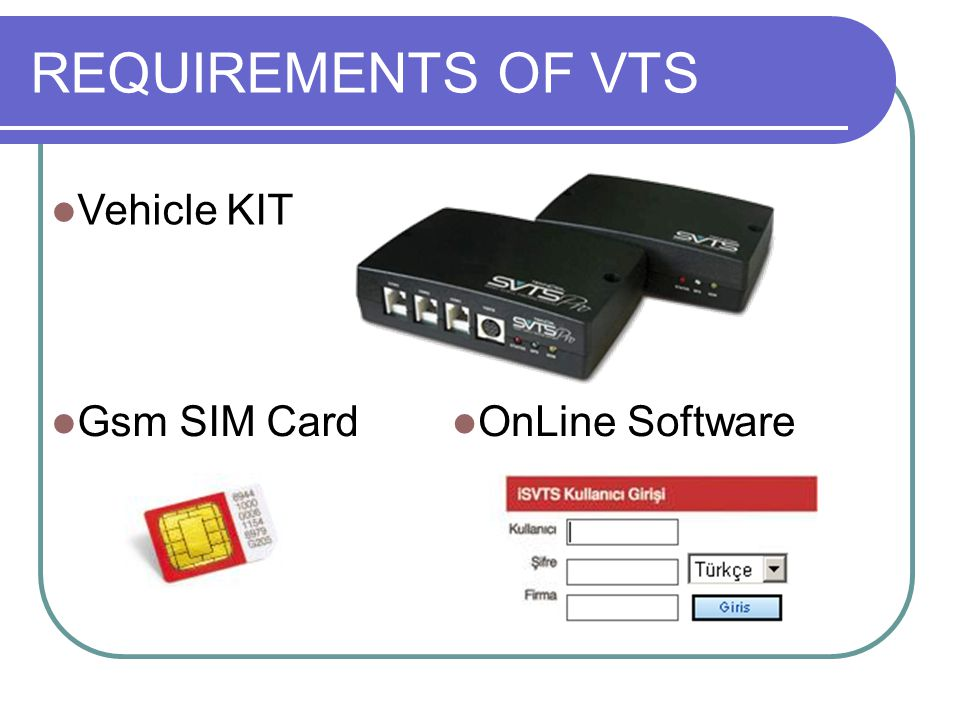 REQUIREMENTS OF VTS Vehicle KIT Gsm SIM Card OnLine Software