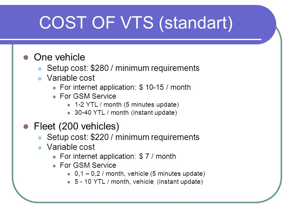 COST OF VTS (standart) One vehicle Fleet (200 vehicles)