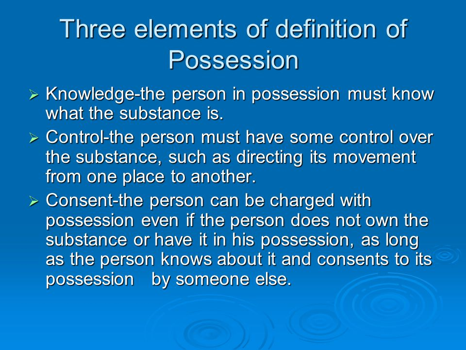 Three elements of definition of Possession