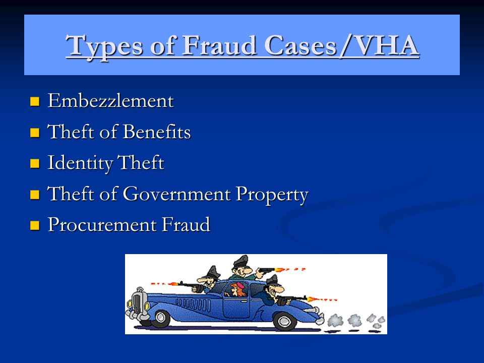 Types of Fraud Cases/VHA