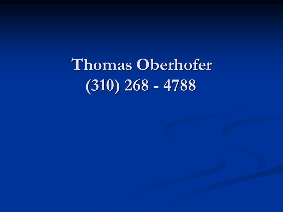 Thomas Oberhofer (310) 268 - 4788 Motive – Money, Money, Money