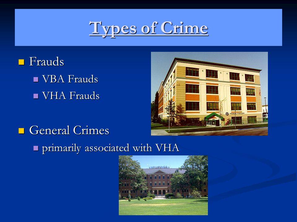 Types of Crime Frauds General Crimes VBA Frauds VHA Frauds