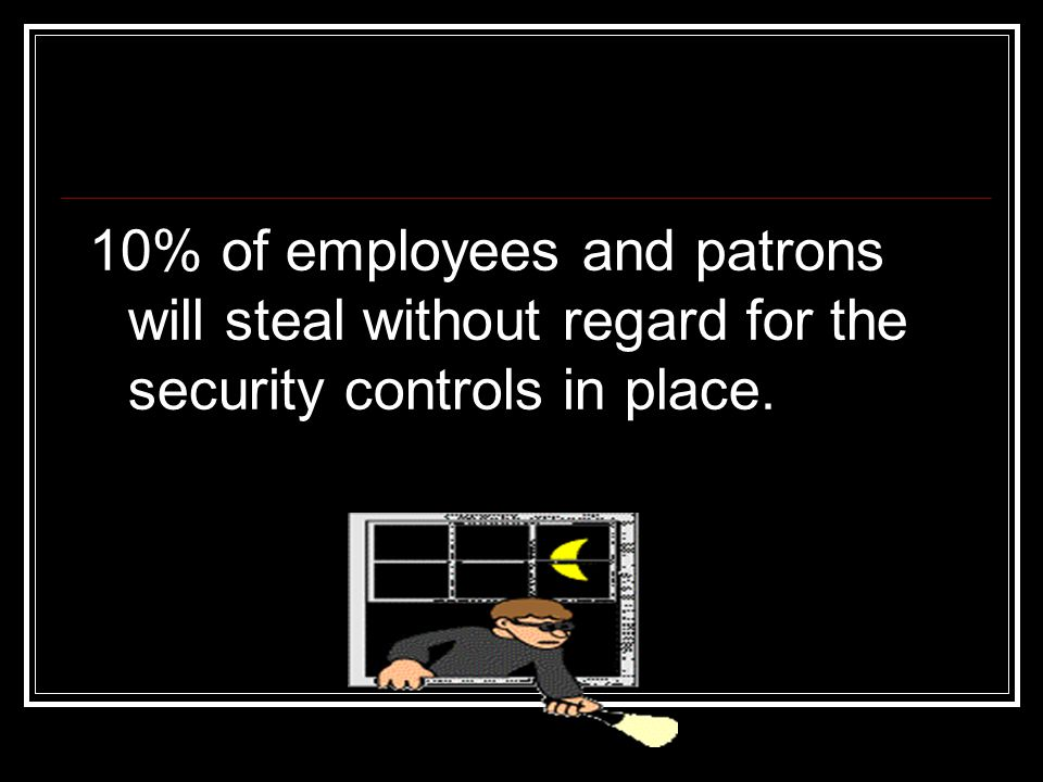 10% of employees and patrons will steal without regard for the security controls in place.