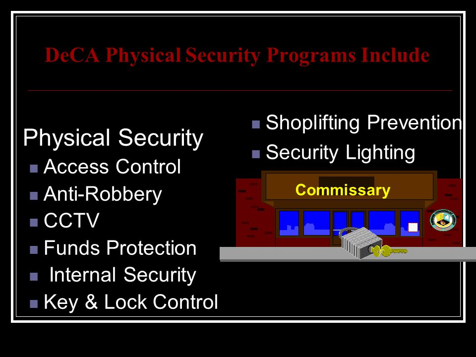DeCA Physical Security Programs Include
