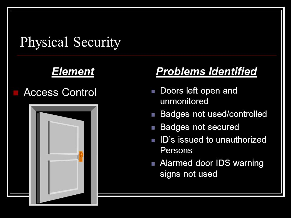 Physical Security Element Access Control Problems Identified