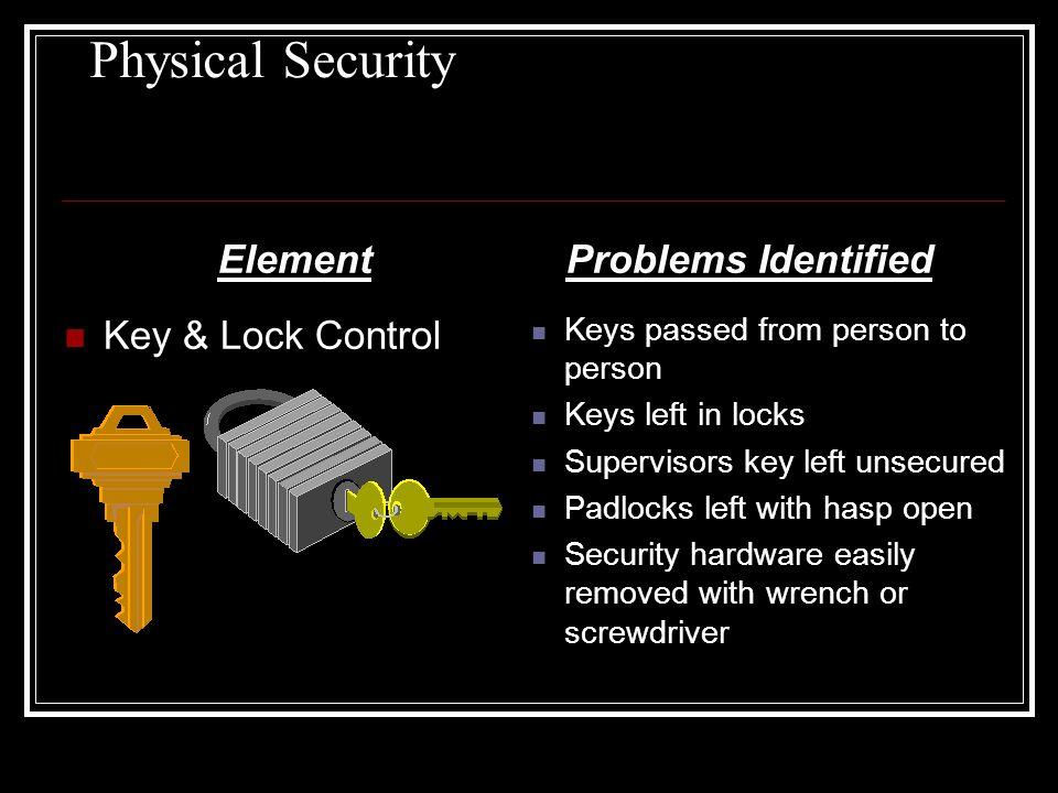 Physical Security Element Key & Lock Control Problems Identified