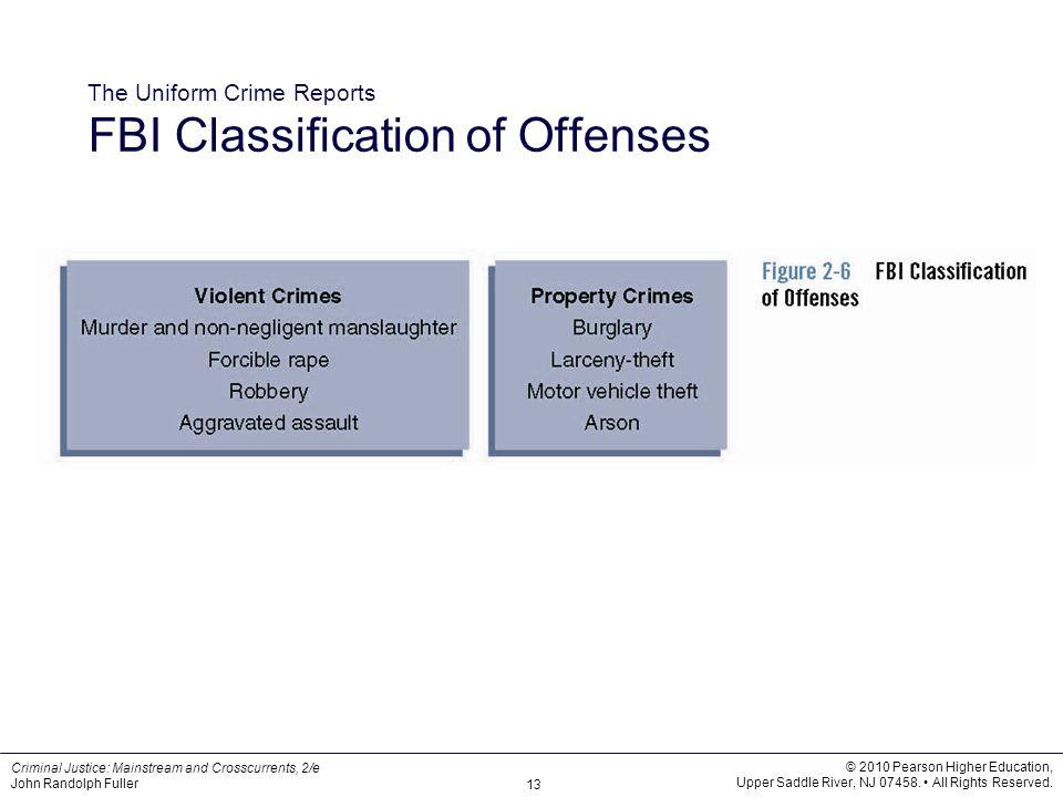 The Uniform Crime Reports FBI Classification of Offenses