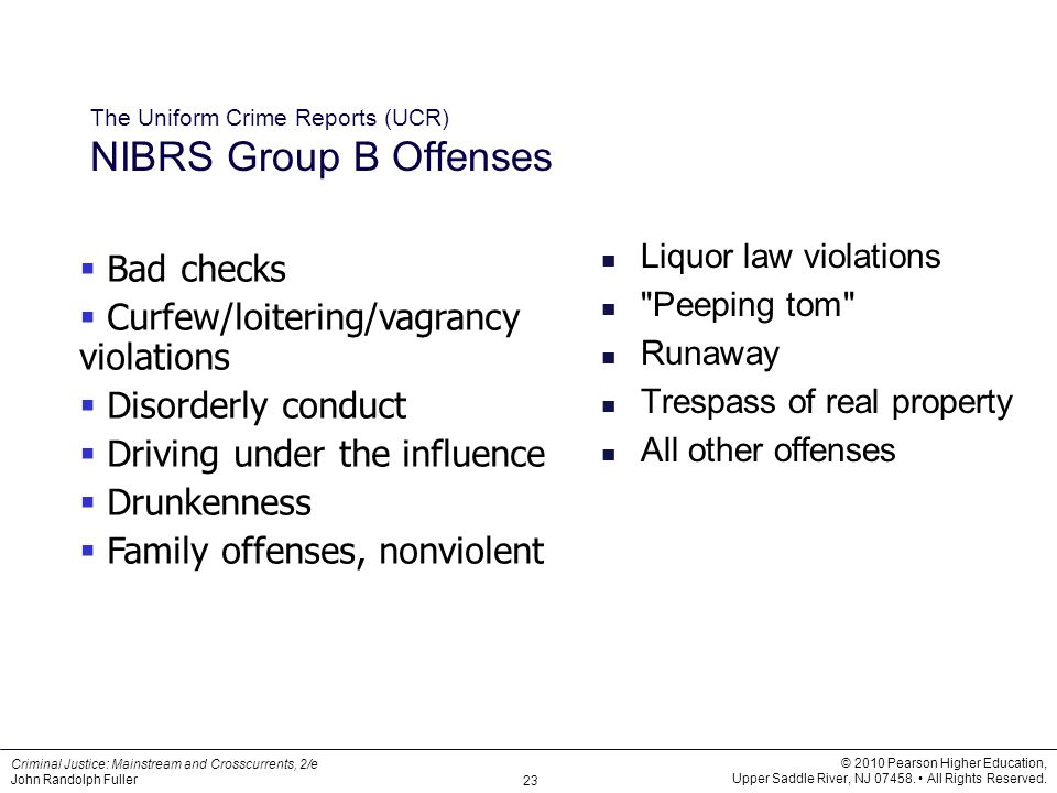 The Uniform Crime Reports (UCR) NIBRS Group B Offenses