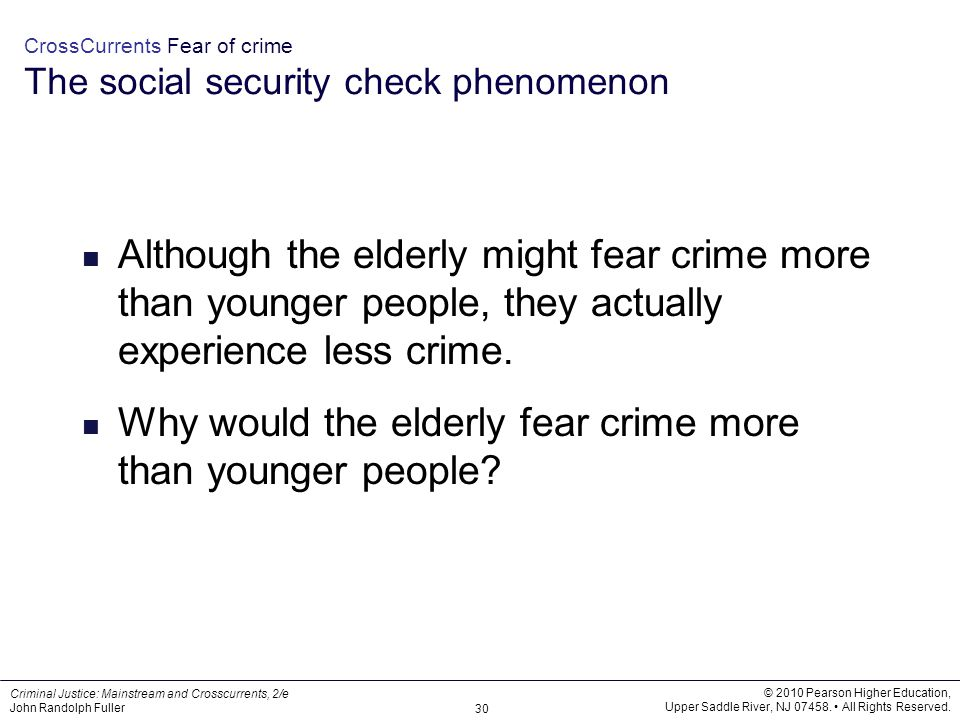 CrossCurrents Fear of crime The social security check phenomenon