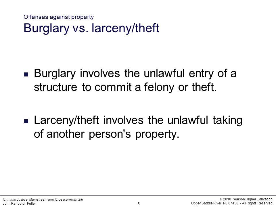 Offenses against property Burglary vs. larceny/theft
