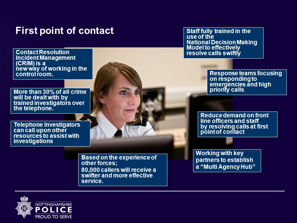 First point of contact Staff fully trained in the use of the National Decision Making Model to effectively resolve calls swiftly.