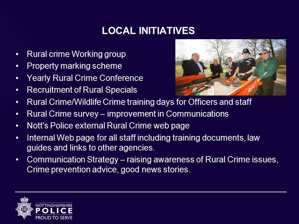 LOCAL INITIATIVES Rural crime Working group Property marking scheme