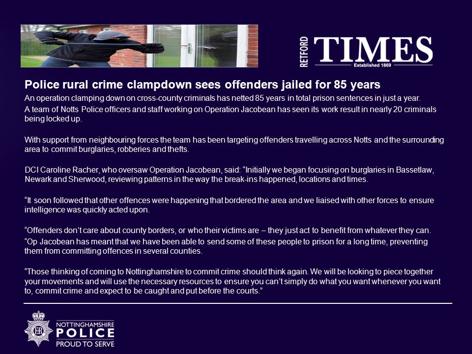 Police rural crime clampdown sees offenders jailed for 85 years