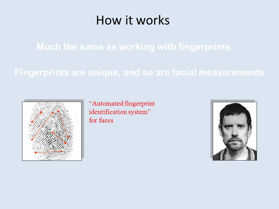 How it works Much the same as working with fingerprints