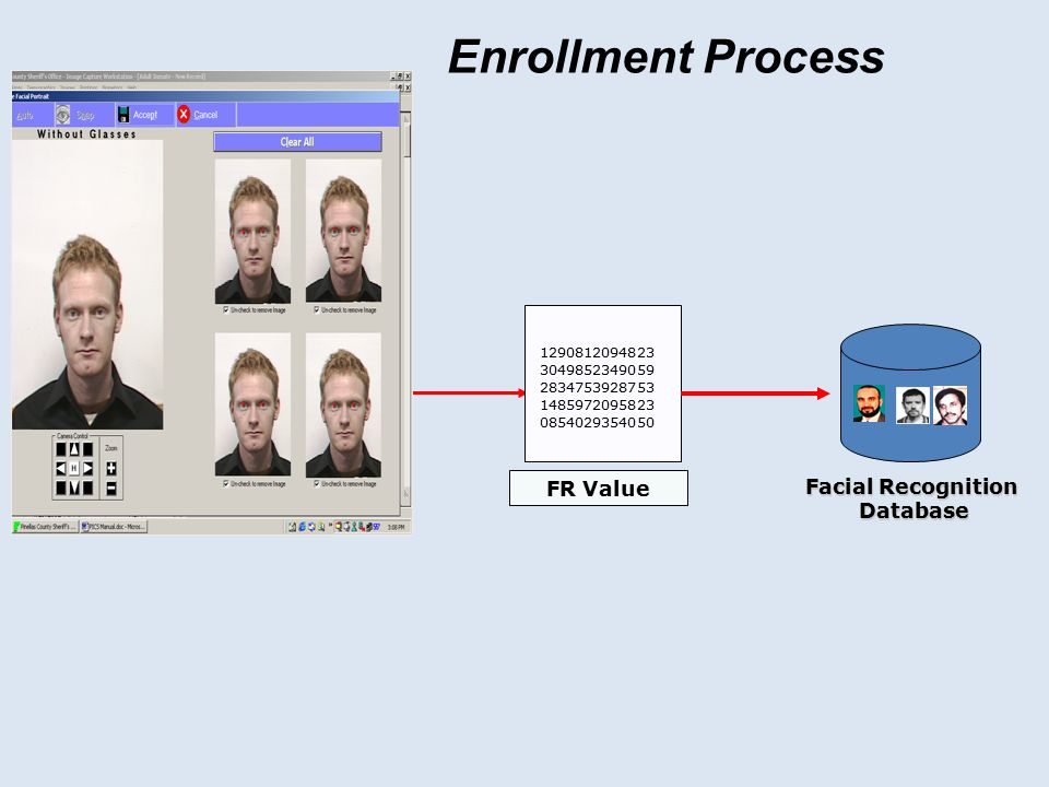 Enrollment Process FR Value Facial Recognition JPG, GIF, etc. Database