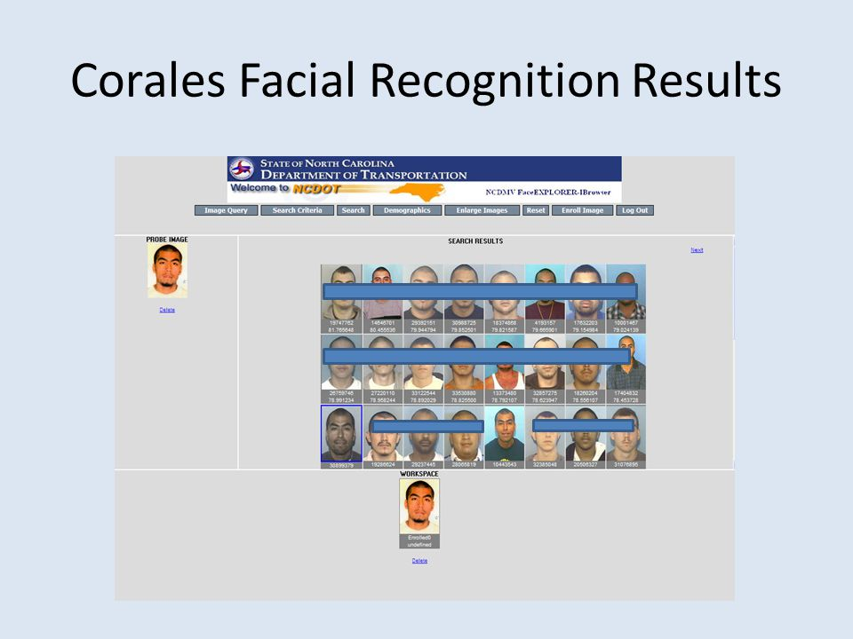 Corales Facial Recognition Results
