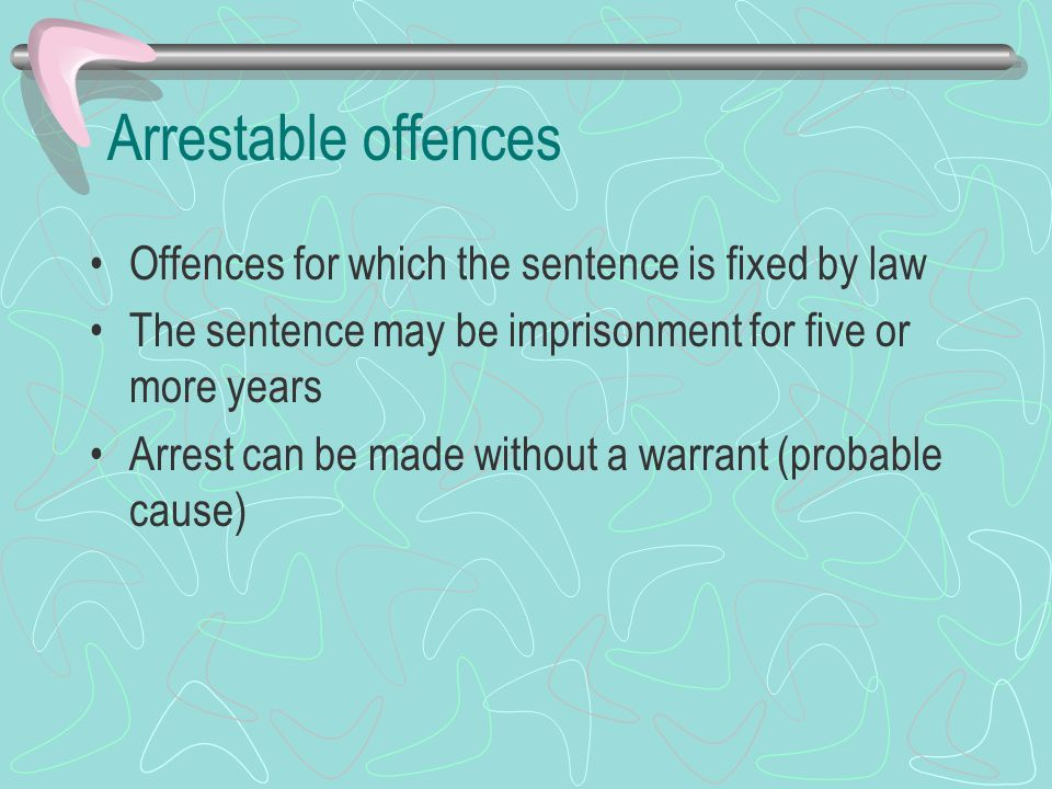 Arrestable offences Offences for which the sentence is fixed by law