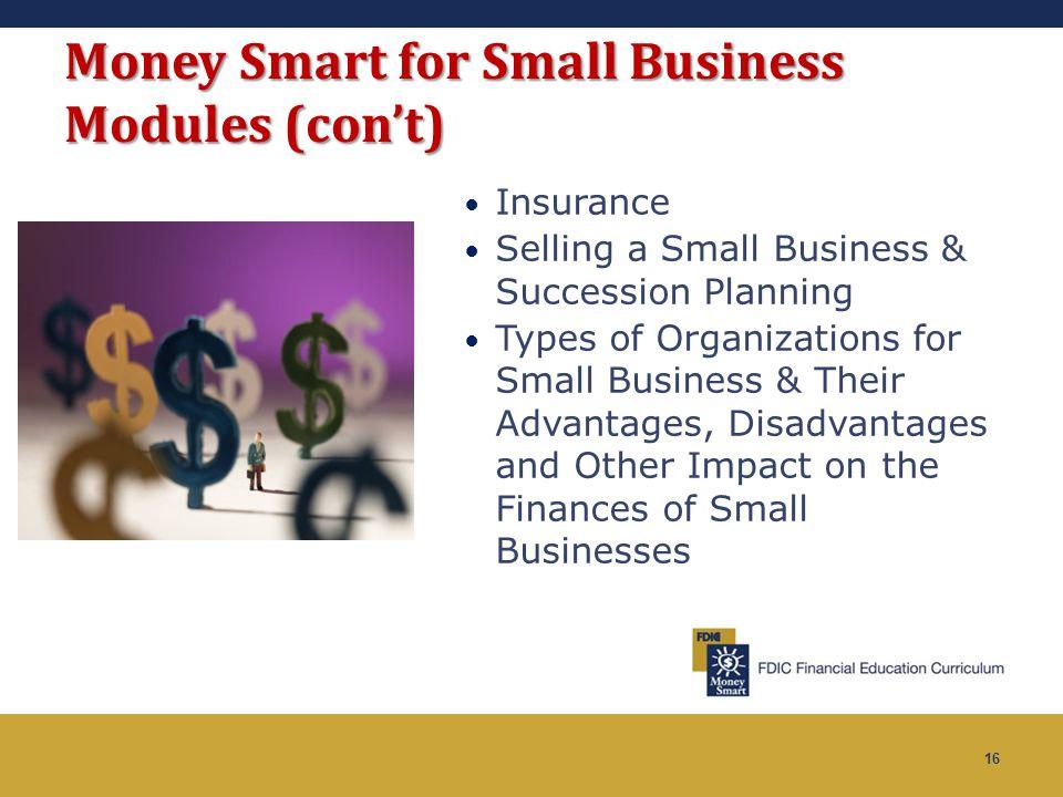 Money Smart for Small Business Modules (con't)