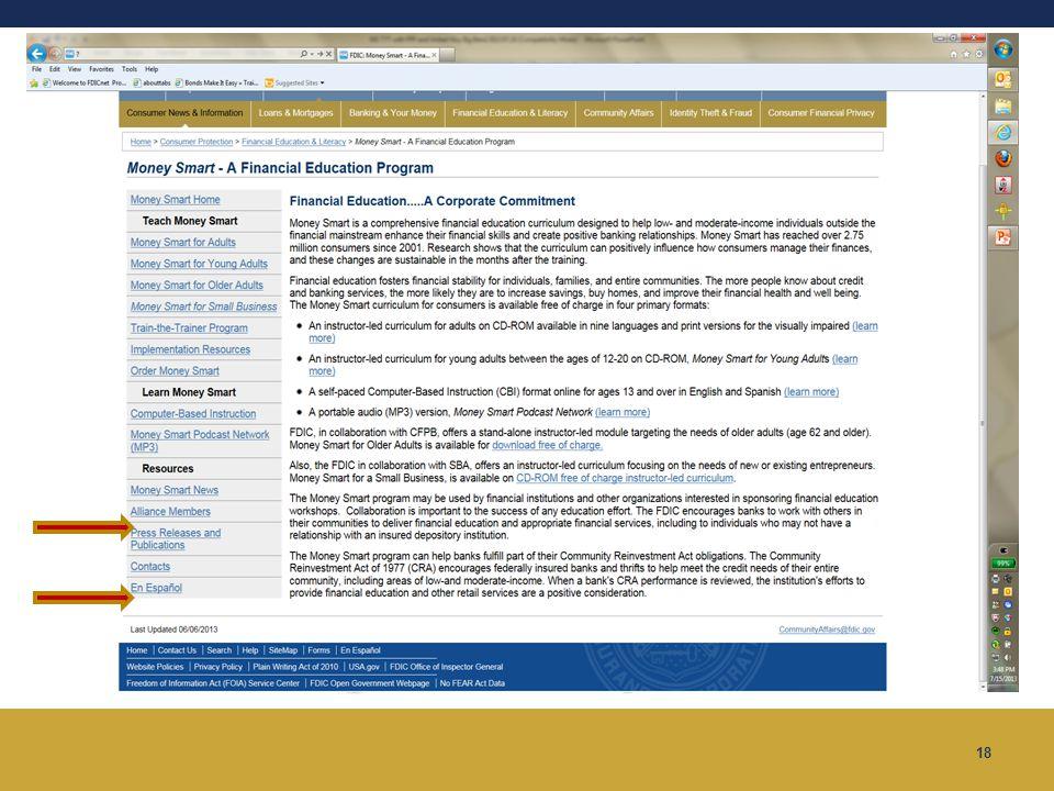 Money Smart Website www.fdic.gov/moneysmart