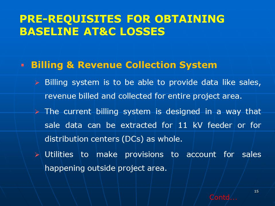 PRE-REQUISITES FOR OBTAINING BASELINE AT&C LOSSES