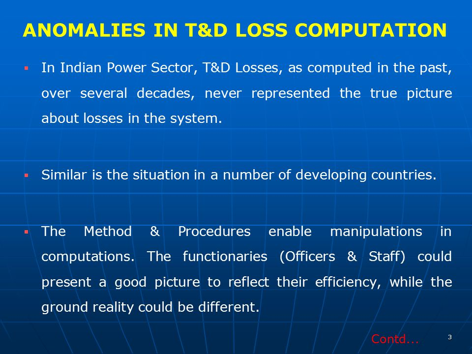 ANOMALIES IN T&D LOSS COMPUTATION