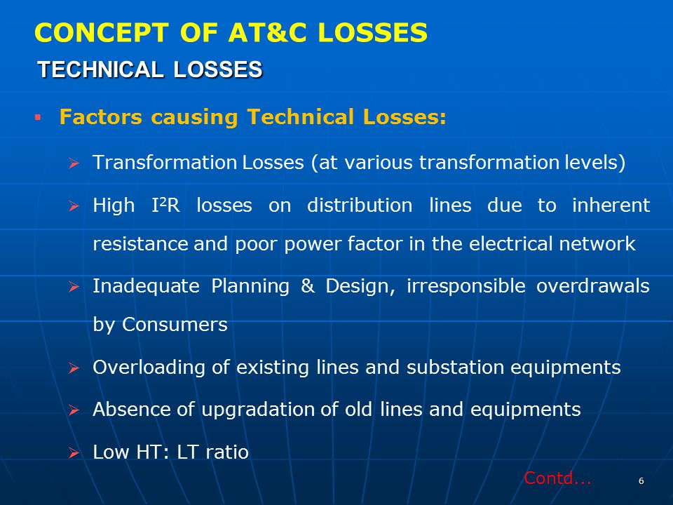TECHNICAL LOSSES CONCEPT OF AT&C LOSSES