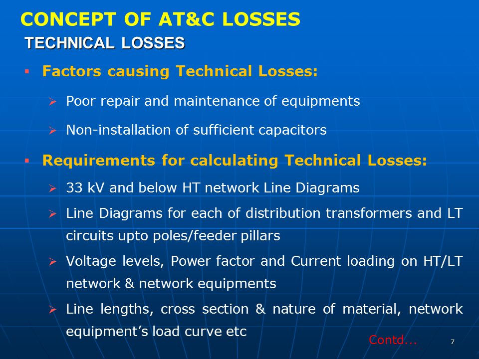 CONCEPT OF AT&C LOSSES TECHNICAL LOSSES