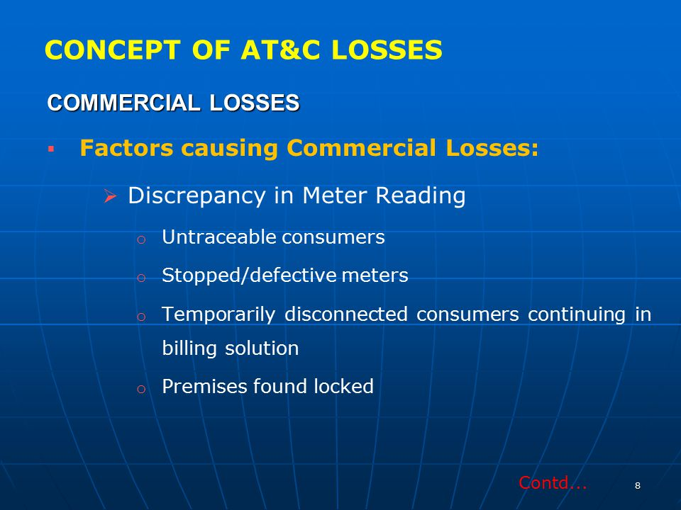 CONCEPT OF AT&C LOSSES COMMERCIAL LOSSES Discrepancy in Meter Reading