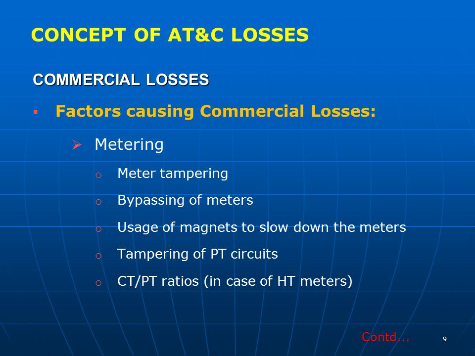 CONCEPT OF AT&C LOSSES COMMERCIAL LOSSES Metering