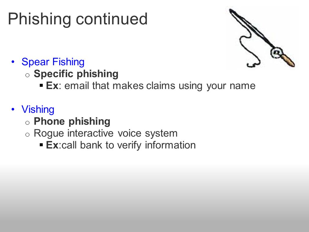 Phishing continued Spear Fishing Specific phishing