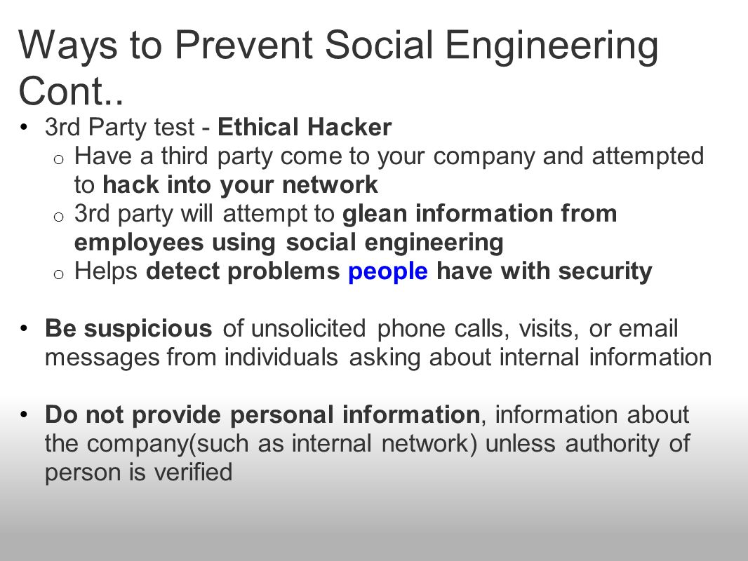 Ways to Prevent Social Engineering Cont..