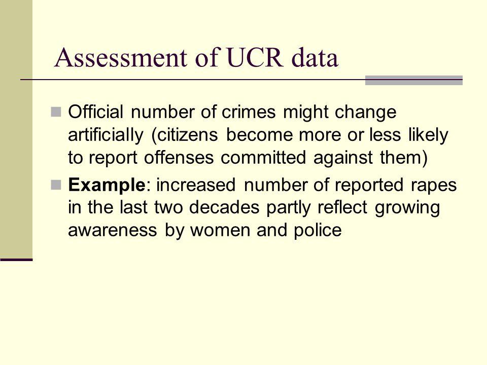 Assessment of UCR data