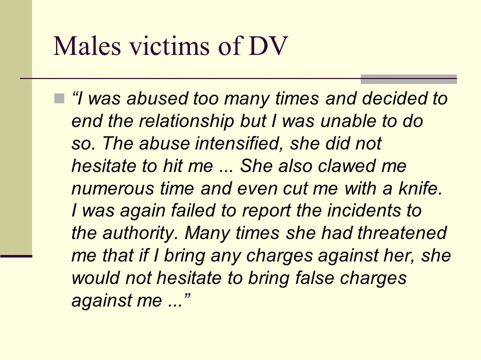 Males victims of DV