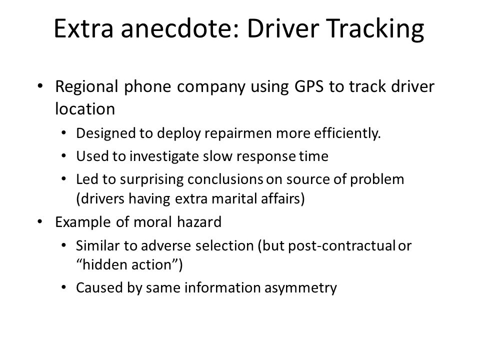 Extra anecdote: Driver Tracking