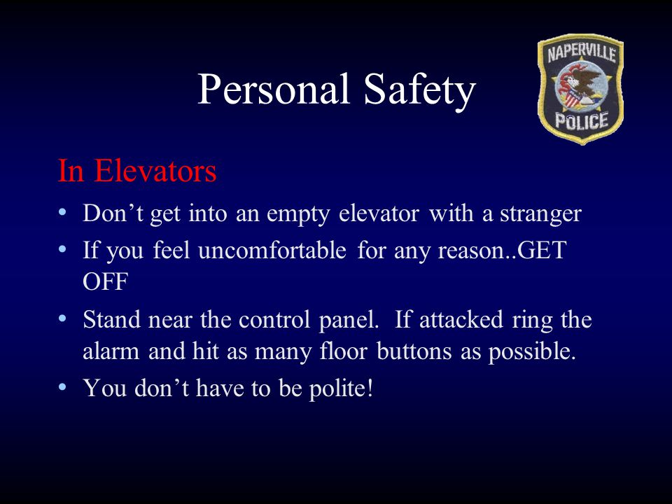 Personal Safety In Elevators