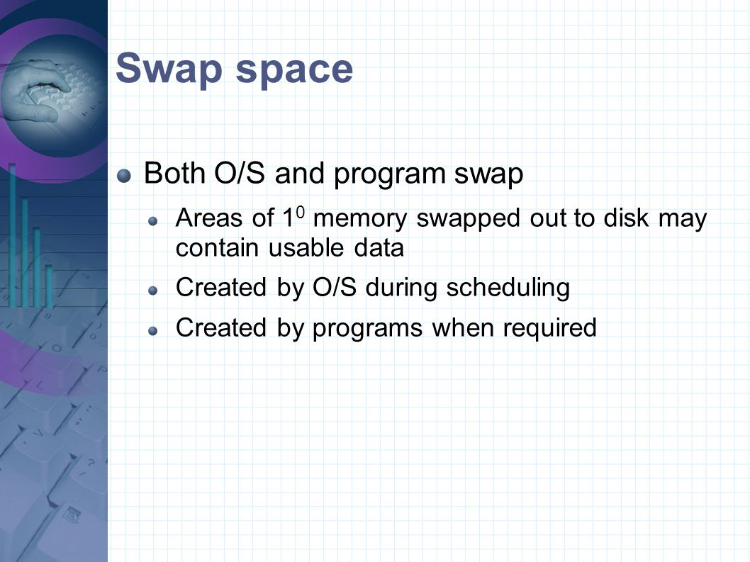 Swap space Both O/S and program swap