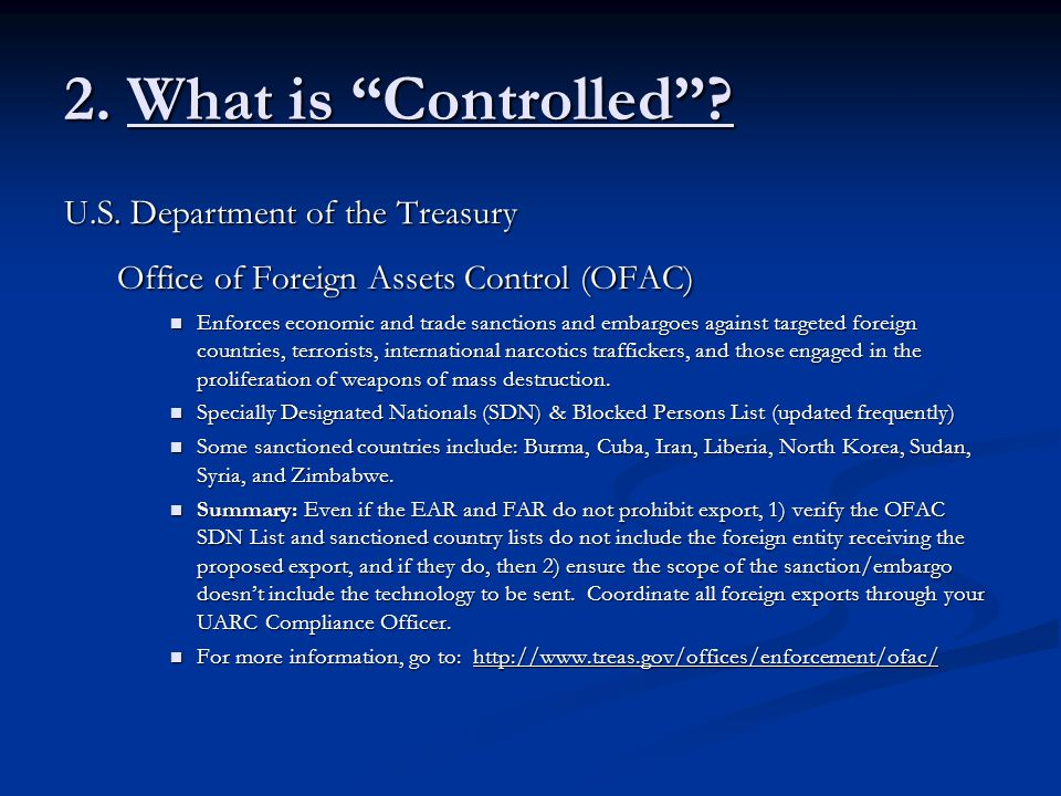 2. What is Controlled U.S. Department of the Treasury