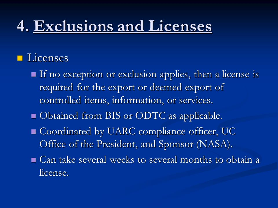 4. Exclusions and Licenses