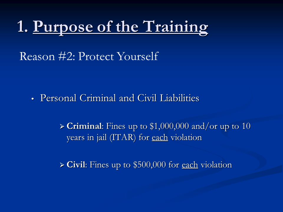 1. Purpose of the Training