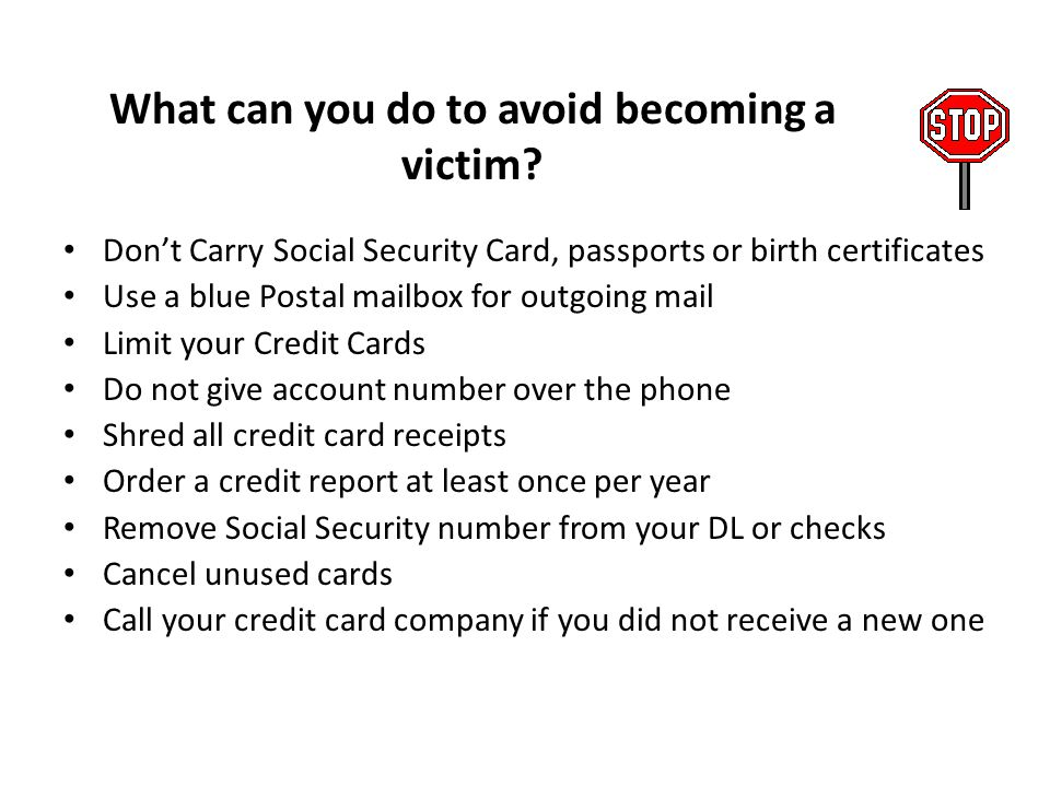 What can you do to avoid becoming a victim