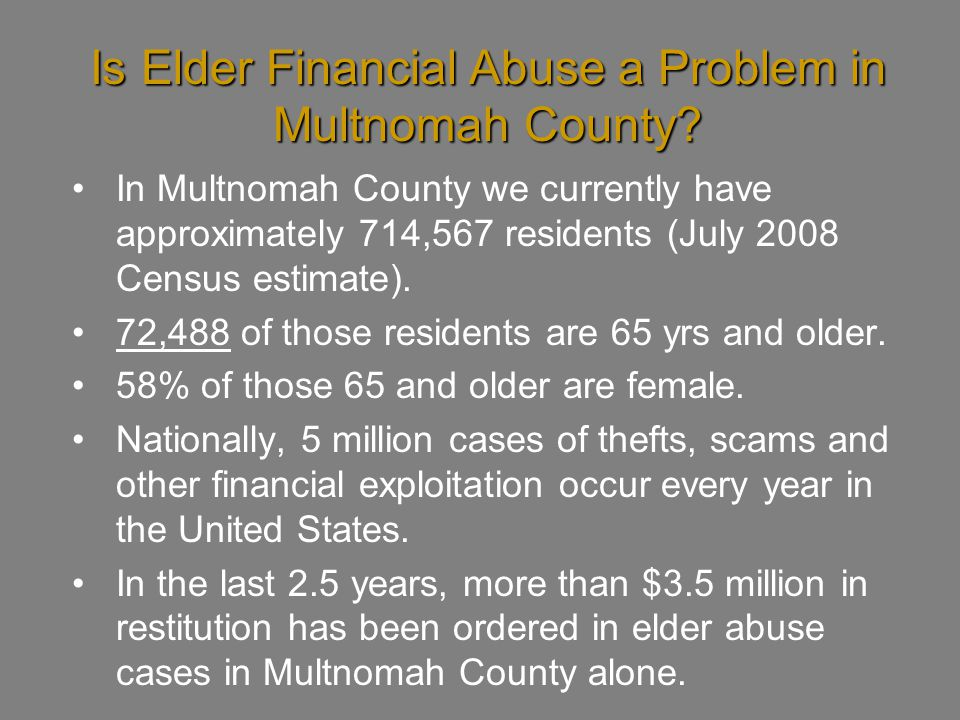Is Elder Financial Abuse a Problem in Multnomah County