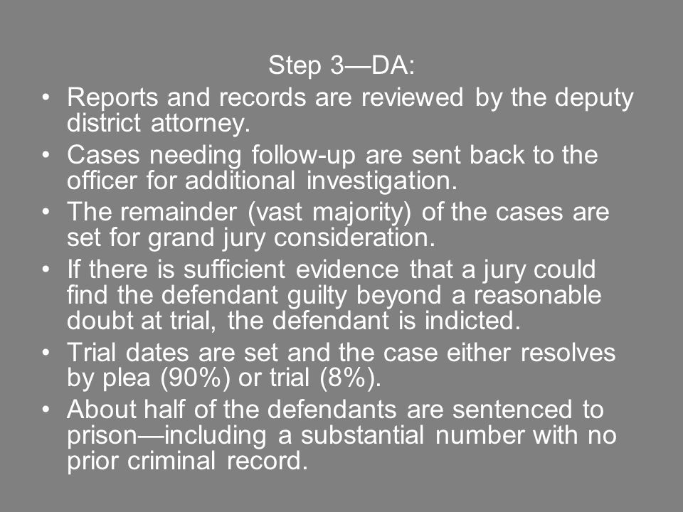 Step 3—DA: Reports and records are reviewed by the deputy district attorney.