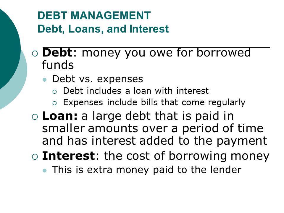 DEBT MANAGEMENT Debt, Loans, and Interest