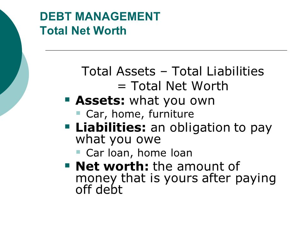 DEBT MANAGEMENT Total Net Worth