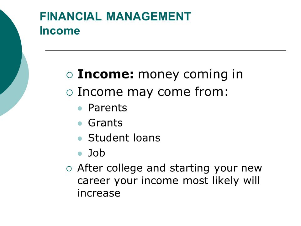 FINANCIAL MANAGEMENT Income