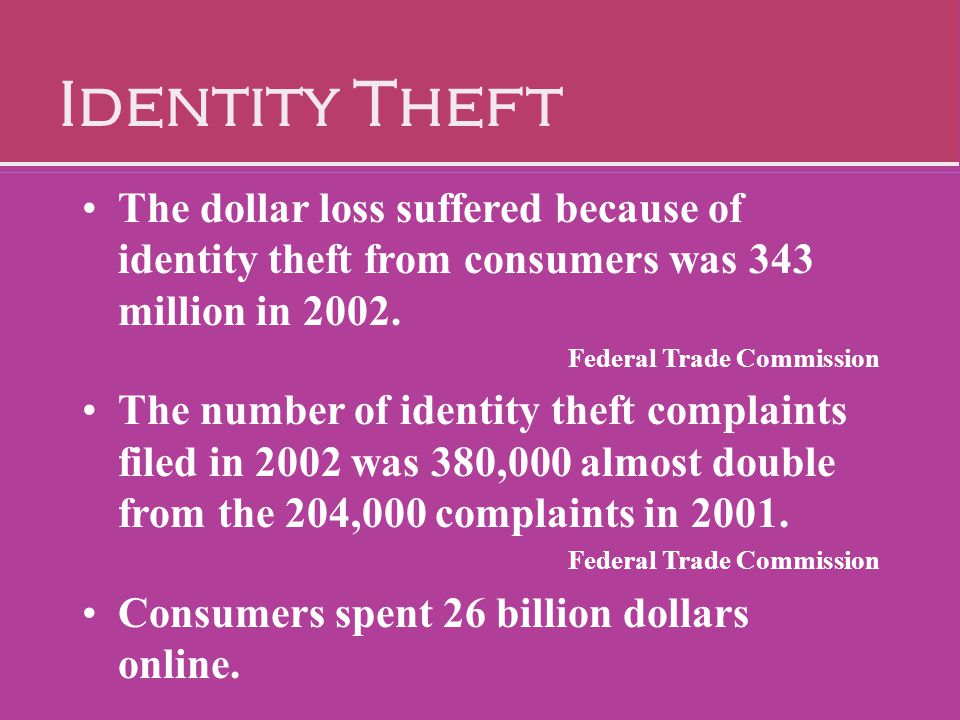 Identity Theft The dollar loss suffered because of identity theft from consumers was 343 million in 2002.